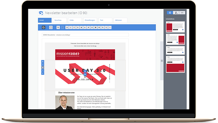 mission-one dialog+ Newsletter Editor